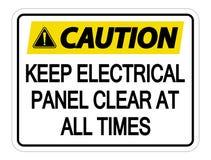 Symbol Vorsicht halten elektrische Platten-klares jederzeit Zeichen auf weißem Hintergrund vektor abbildung