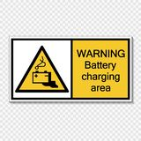 symbol warning battery charging area Sign label on transparent background stock illustration
