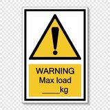 Symbol Warning max load kg.sign label on transparent background vector illustration