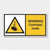 symbol warning overhead loads Sign on transparent background stock illustration
