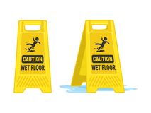 Caution Wet Floor Sign  Board Vector Illustration royalty free stock photo