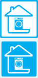 Symbol with washing machine and house Royalty Free Stock Photography