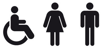Symbol wc. Symbol female man wheelchair in vector Royalty Free Stock Photos