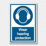 Symbol Wear hearing protection on transparent background vector illustration