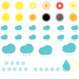 Symbol weather: suns, clouds, snowflakes and drop. Royalty Free Stock Images