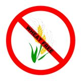 Symbol: Wheat-Free Text. Symbol for wheat-free food for those with wheat allergies with explicit text Stock Illustration