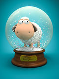 Symbol of 2015. White sheep in snow ball Royalty Free Illustration