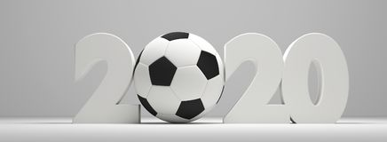 Symbol 2020 white soccer football ball bold letters 3d rendering. Symbol 2020 white soccer football ball bold letters 3d Royalty Free Stock Photo