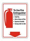 Symbol, wie man Feuerlöscher-Zeichen-Isolat auf weißem Hintergrund, Vektor-Illustration benutzt stock abbildung