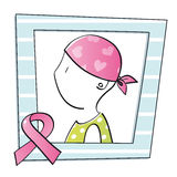 Symbol of woman with cancer. Portrait of a woman with breast cancer Royalty Free Stock Photo