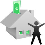 Symbol woman house savings work at home income. A symbol person celebrates working at home income, house as bank with savings, or increase in value of home Stock Photos