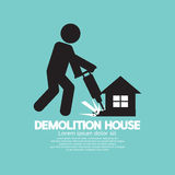 Symbol Of A Worker Using Drill To Demolish A House Stock Photos