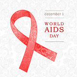 Symbol of World AIDS Day, December 1, Red ribbon. Red ribbon with ornate decor. Symbol of World AIDS Day, December 1. Vector illustration for design placard Stock Illustration