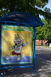 Symbol of the 2018 World Cup in Russia wolf Zabivak at the bus stop, Russia stock photography