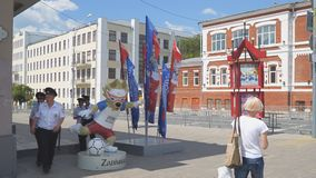 Symbol of the world Cup 2018 Zabivaka in Samara. SAMARA, RUSSIA - JUNE 19, 2018: Symbol of the world Cup 2018 Zabivaka in Samara on the street Chapaevskaya stock footage