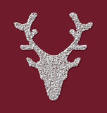 Symbol Xmas Deer head red backdrop made from white. Symbol new year xmas deer head red backdrop made from white hoarfrost particles - vector Stock Image