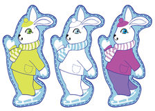 Symbol of the year. Three rabbits in different colors Royalty Free Stock Photo