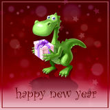 Symbol of year. Sympathetic dragon monster and present royalty free illustration