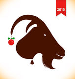 Symbol of the year 2015. Black silhouette of she-goat head. Nanny-goat, goat Stock Image