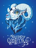 Symbol of 2015 year. Christmas background with sheep on blue vector illustration