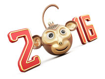 Symbol of the year 2016. Christmas Toy monkey among digits. Conceptual image. 3d rendering Royalty Free Stock Photos