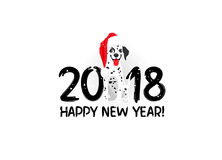 Symbol of the year 2018. Dalmatian. Happy New Year! Funny dog in a red hat. Lettering. Vector holiday card. Symbol of the  2018. Dalmatian Royalty Free Stock Photography