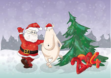 Symbol of year 2014 funny horse dancing with Santa Royalty Free Stock Image