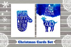 Symbol of the 2015 year, greeting card with goat. Greeting card 2015. Happy New Year 2015. Vector watercolor mitten silhouette, Ha. Ppy New Year lettering stock illustration