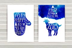 Symbol of the 2015 year, greeting card with goat. Greeting card 2015. Happy New Year 2015. Vector watercolor mitten silhouette, Ha Royalty Free Stock Photography