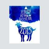 Symbol of the 2015 year, greeting card with goat. Vector watercolor background. Greeting card 2015. Happy New Year 2015 Royalty Free Stock Image