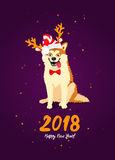 Symbol of the year 2018. Happy New Year! A merry dog ​​in a red striped hat with reindeer antlers and ears. Calligraphy and lettering. Vector holiday card Stock Photo