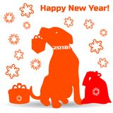 Symbol of the year, orange dog silhouette holding a gift in the royalty free illustration