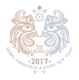 Symbol 2017. The Year of Rooster. Hand drawn Rooster. Beautiful New Year festive template with two cock heads and inscriptions. Symbol 2017. The Year of Rooster Royalty Free Stock Photography
