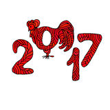 Symbol of 2017 year - Rooster. Royalty Free Stock Photos