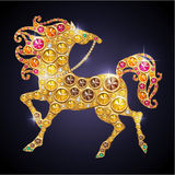 Shiny horse. Symbol of Year 2013 shiny jewelry horse Stock Photo