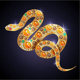 Shiny snake. Symbol of Year 2013 shiny jewelry snake Royalty Free Stock Photo