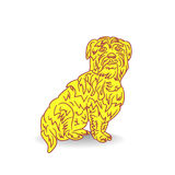 Symbol of the year, yellow dog, cartoon on a white background. Vector Stock Photos