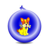 Symbol of the year 2018 yellow dog in a New Year`s ball. Cartoon on a white background.vector Royalty Free Stock Photography
