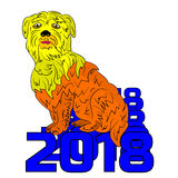 Symbol of the year 2018, yellow dog sits on a figure, cartoon on. A white background.vector Royalty Free Stock Photo