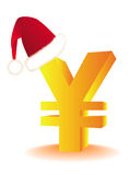 Symbol of the yen in the red hat Santa's. Golden symbol of the yen in the red hat Santa's on a white background Stock Photography