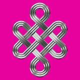 Symbole éternel argenté de charme de noeud Images libres de droits