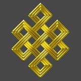 Symbole éternel de charme de noeud d'or Photographie stock libre de droits