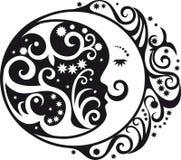 Symbole abstrait de modèle, de croissant de lune et de soleil Photo libre de droits