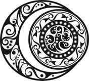 Symbole abstrait de modèle, de croissant de lune et de soleil Photos libres de droits