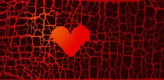 Symbole abstrait du coeur brisé passion d'un rouge ardent d'amour Image libre de droits