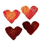 Symbole abstrait du coeur brisé passion d'un rouge ardent d'amour Photo stock