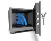 Symbole abstrait Wi-Fi d'image dans le coffre-fort Photo stock