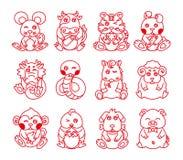 Symbole animal d'an de zodiaque antique chinois illustration libre de droits