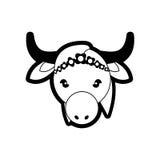 Symbole animal sacré de la vie d'Inde de vache à portrait illustration libre de droits