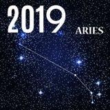 Symbole : Aries Zodiac Sign avec la nouvelle année et le Noël 2019 Illustration de vecteur illustration libre de droits